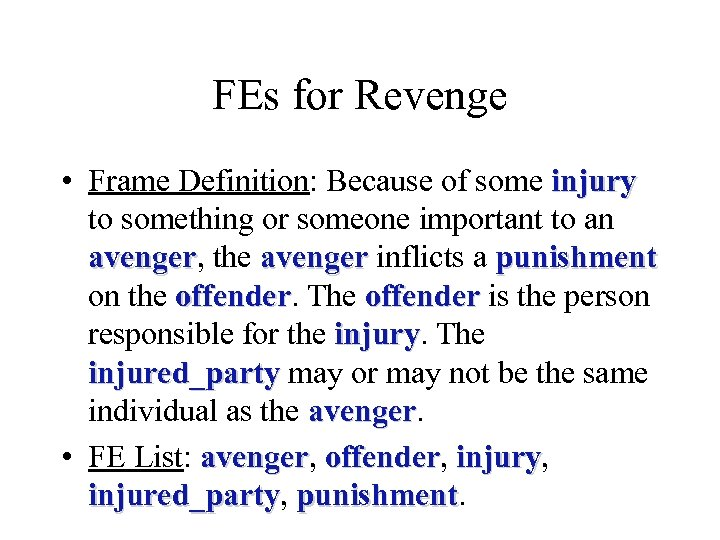 FEs for Revenge • Frame Definition: Because of some injury to something or someone