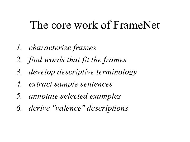 The core work of Frame. Net 1. 2. 3. 4. 5. 6. characterize frames