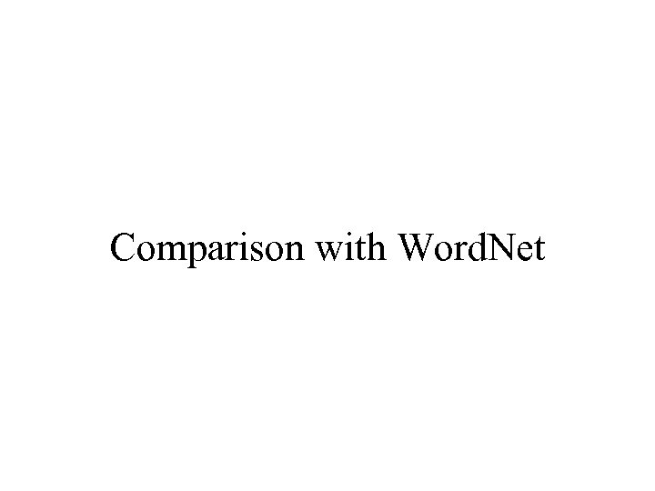 Comparison with Word. Net