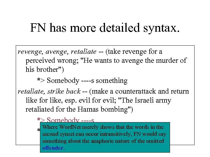 FN has more detailed syntax. revenge, avenge, retaliate -- (take revenge for a perceived