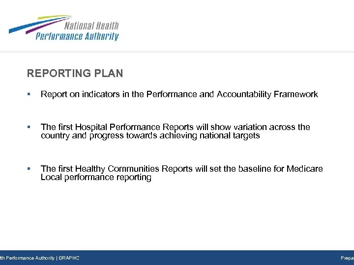 REPORTING PLAN § Report on indicators in the Performance and Accountability Framework § The