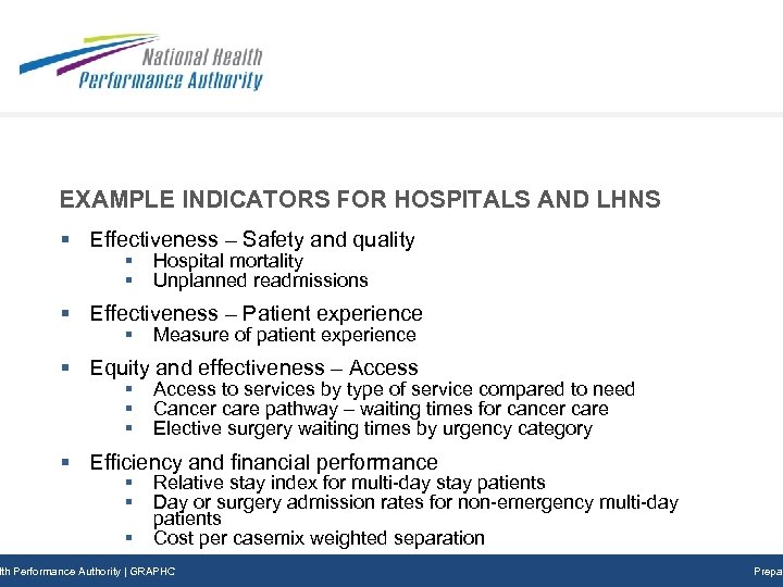 EXAMPLE INDICATORS FOR HOSPITALS AND LHNS § Effectiveness – Safety and quality § §
