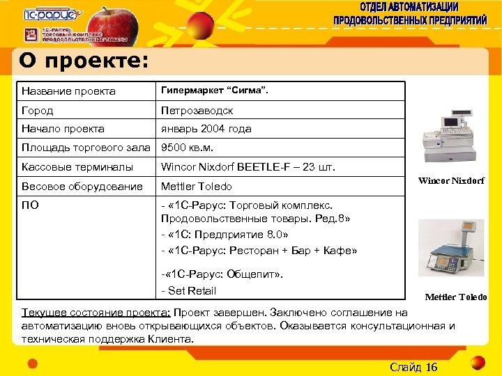 """О проекте: Название проекта Гипермаркет """"Сигма"""". Город Петрозаводск Начало проекта январь 2004 года Площадь"""
