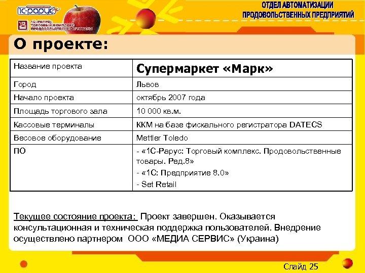 О проекте: Название проекта Супермаркет «Марк» Город Львов Начало проекта октябрь 2007 года Площадь