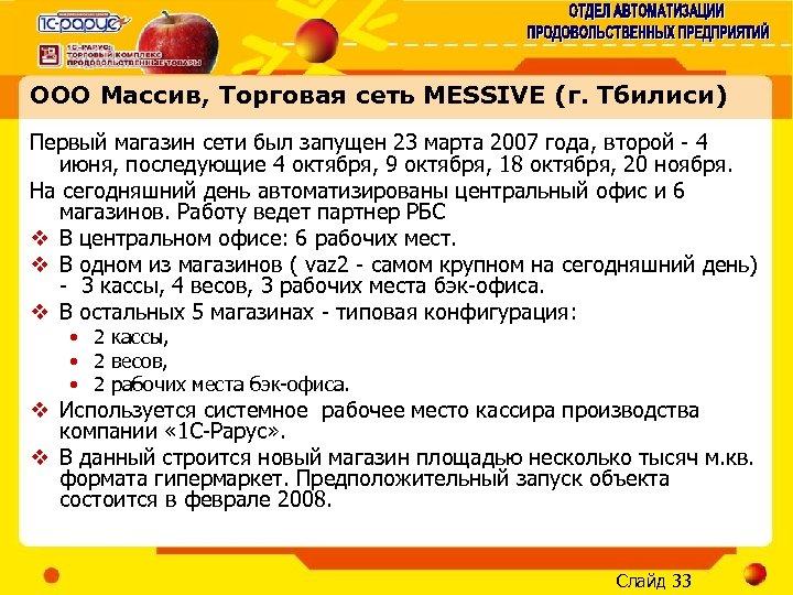 ООО Массив, Торговая сеть MESSIVE (г. Тбилиси) Первый магазин сети был запущен 23 марта