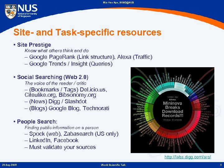 Min-Yen Kan, WING@NUS Site- and Task-specific resources • Site Prestige Know what others think