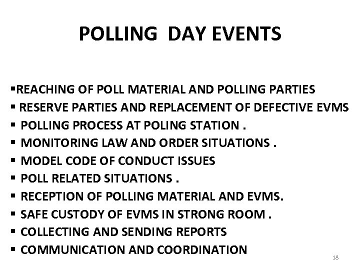 POLLING DAY EVENTS §REACHING OF POLL MATERIAL AND POLLING PARTIES § RESERVE PARTIES AND