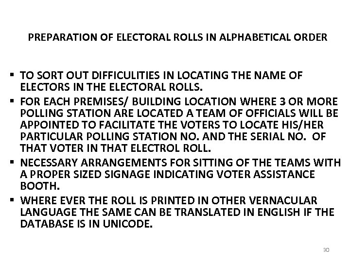 PREPARATION OF ELECTORAL ROLLS IN ALPHABETICAL ORDER § TO SORT OUT DIFFICULITIES IN LOCATING