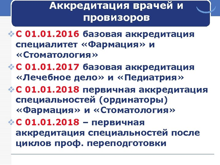 Аккредитация врачей и провизоров v С 01. 2016 базовая аккредитация специалитет «Фармация» и «Стоматология»