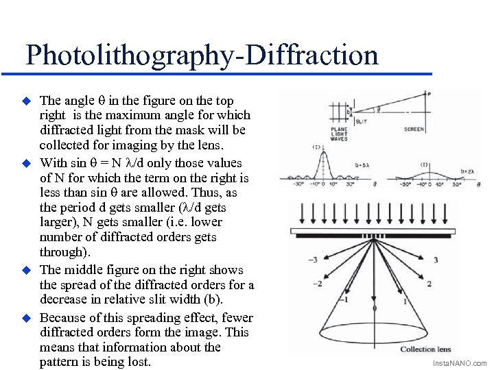 Photolithography-Diffraction u u The angle q in the figure on the top right is