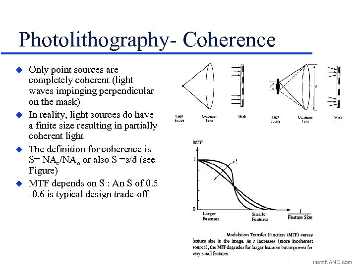 Photolithography- Coherence u u Only point sources are completely coherent (light waves impinging perpendicular