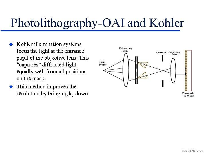 Photolithography-OAI and Kohler u u Kohler illumination systems focus the light at the entrance