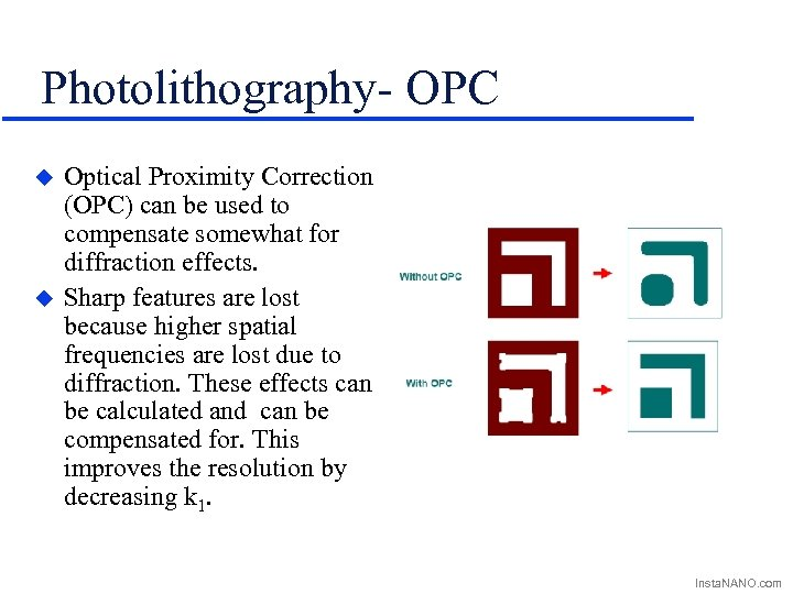 Photolithography- OPC u u Optical Proximity Correction (OPC) can be used to compensate somewhat