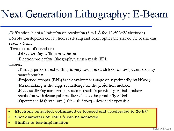 Next Generation Lithography: E-Beam Diffraction is not a limitation on resolution (l < 1