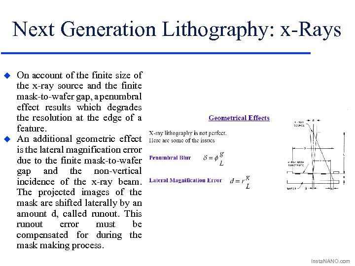 Next Generation Lithography: x-Rays u u On account of the finite size of the