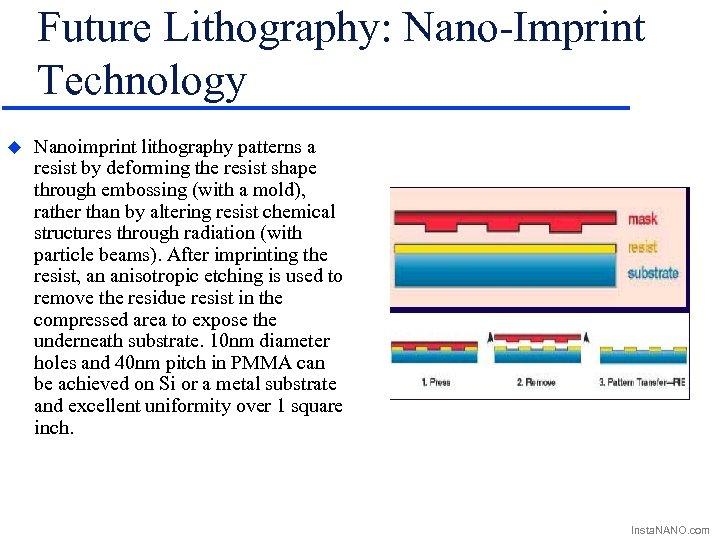 Future Lithography: Nano-Imprint Technology u Nanoimprint lithography patterns a resist by deforming the resist