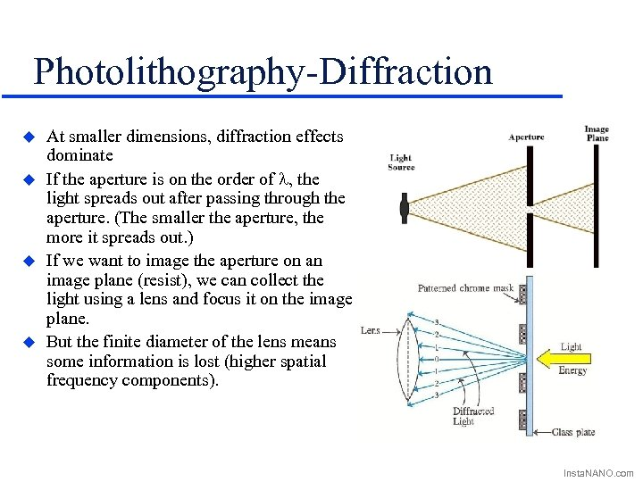 Photolithography-Diffraction u u At smaller dimensions, diffraction effects dominate If the aperture is on