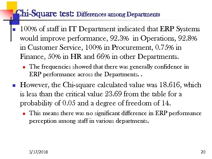 Chi-Square test: Differences among Departments n 100% of staff in IT Department indicated that