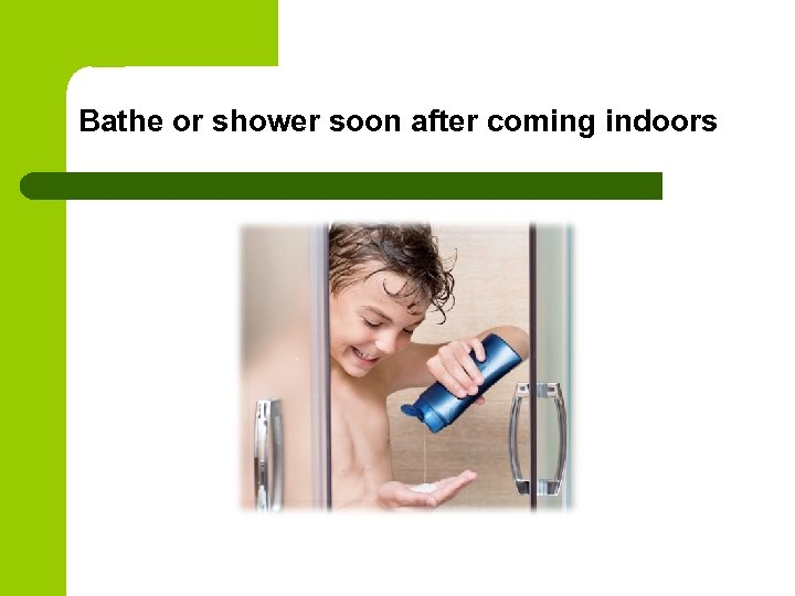 Bathe or shower soon after coming indoors