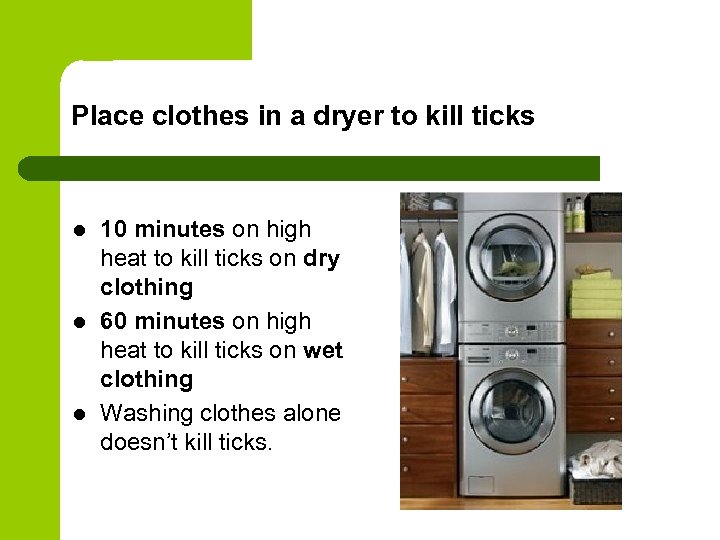 Place clothes in a dryer to kill ticks l l l 10 minutes on