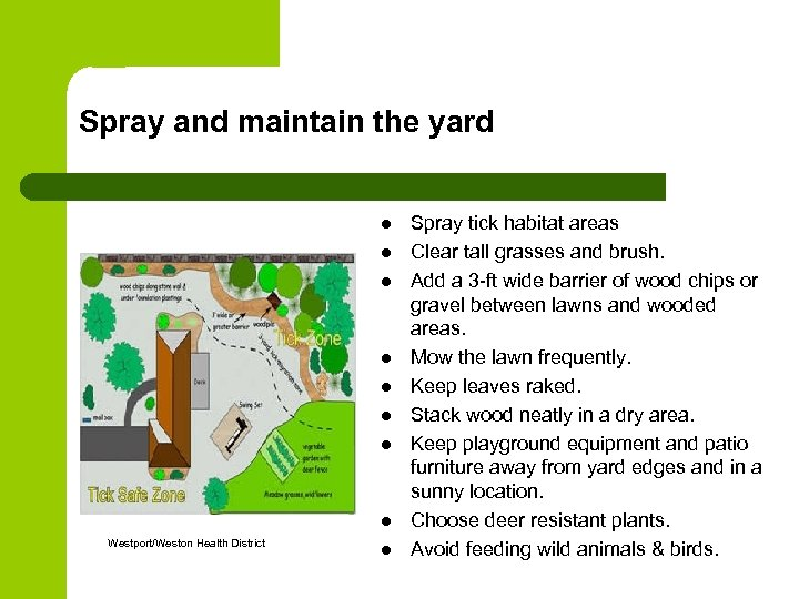 Spray and maintain the yard l l l l Westport/Weston Health District l Spray