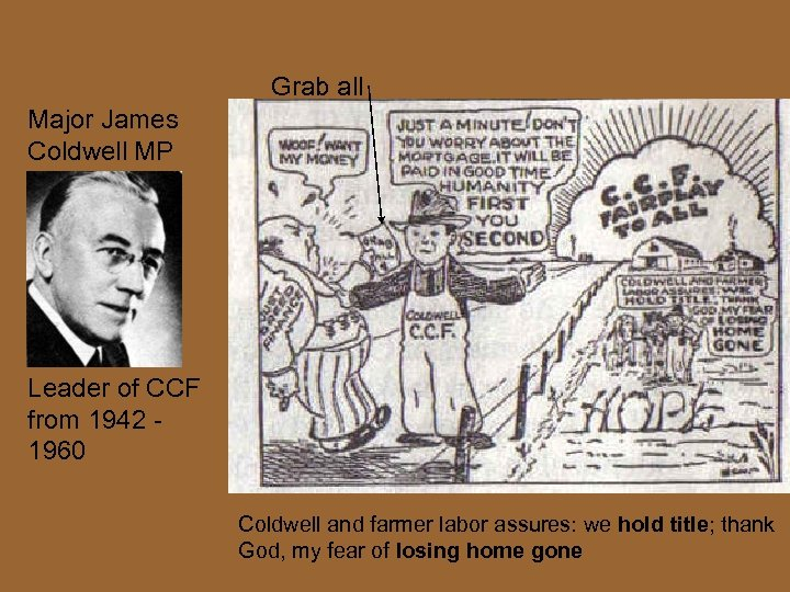 Grab all Major James Coldwell MP Leader of CCF from 1942 1960 Coldwell and