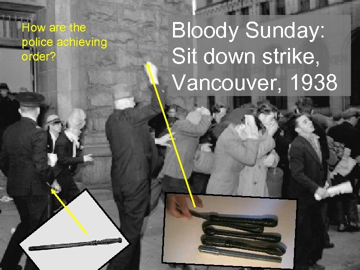 How are the police achieving order? Bloody Sunday: Sit down strike, Vancouver, 1938