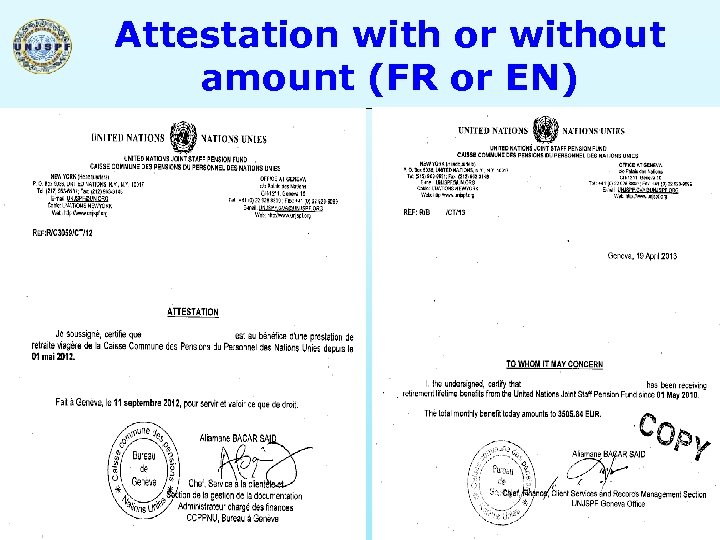Attestation with or without amount (FR or EN) 29