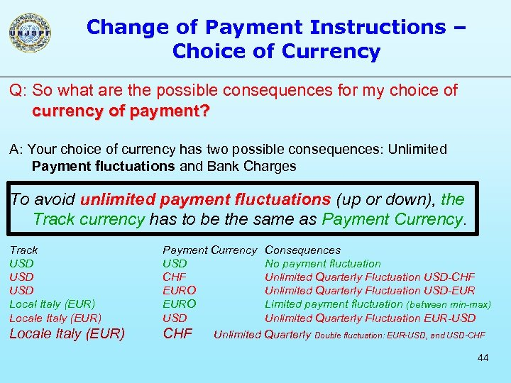 Change of Payment Instructions – Choice of Currency Q: So what are the possible