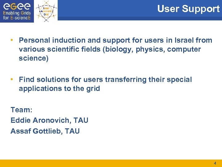 User Support • Personal induction and support for users in Israel from various scientific