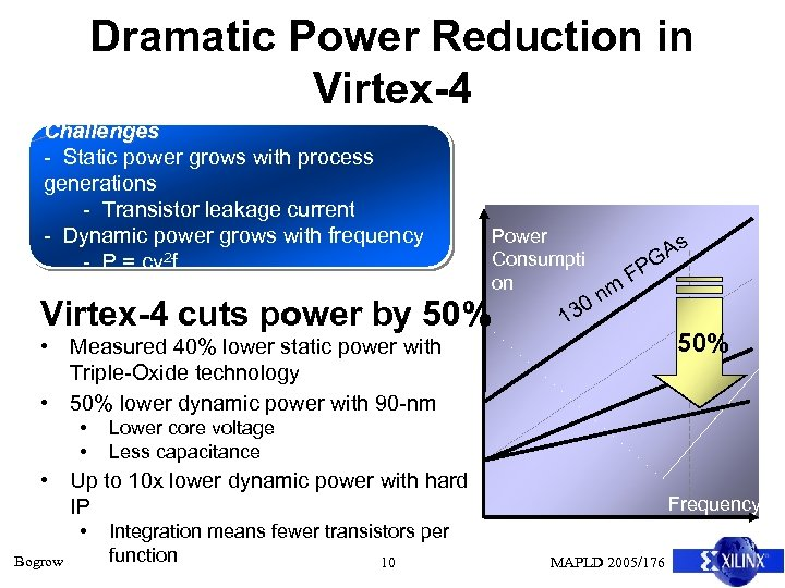 Dramatic Power Reduction in Virtex-4 Challenges - Static power grows with process generations -