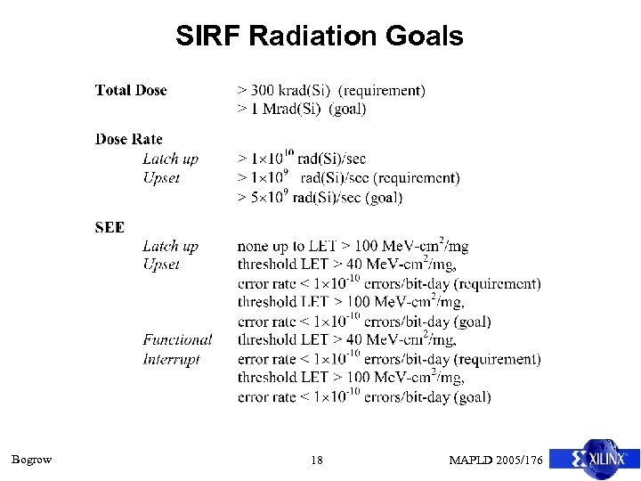 SIRF Radiation Goals Bogrow 18 MAPLD 2005/176