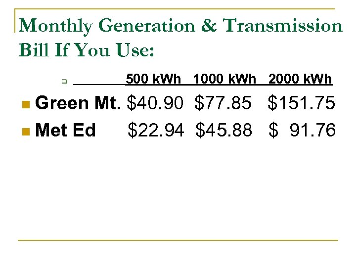 Monthly Generation & Transmission Bill If You Use: q 500 k. Wh 1000 k.