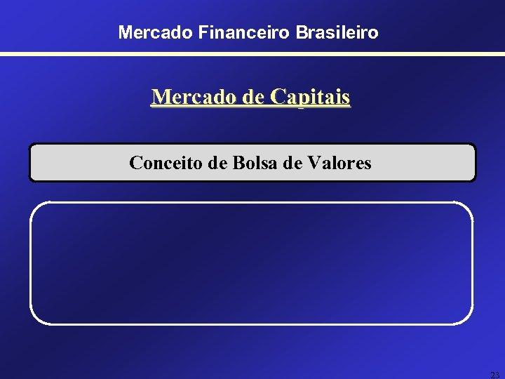 Mercado Financeiro Brasileiro Mercado de Capitais Conceito de Bolsa de Valores 23