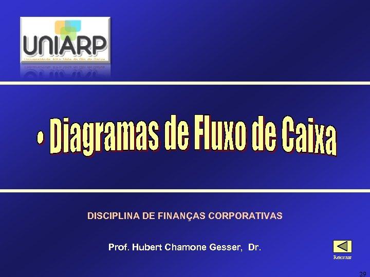DISCIPLINA DE FINANÇAS CORPORATIVAS Prof. Hubert Chamone Gesser, Dr. Retornar 29