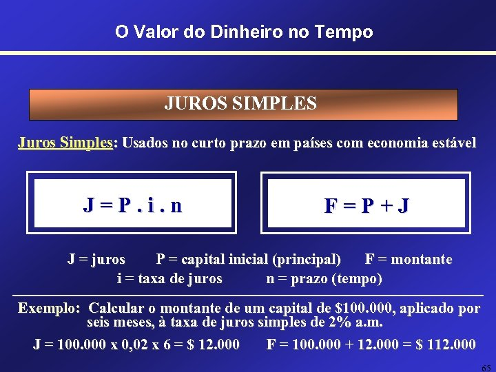 O Valor do Dinheiro no Tempo JUROS SIMPLES Juros Simples: Usados no curto prazo