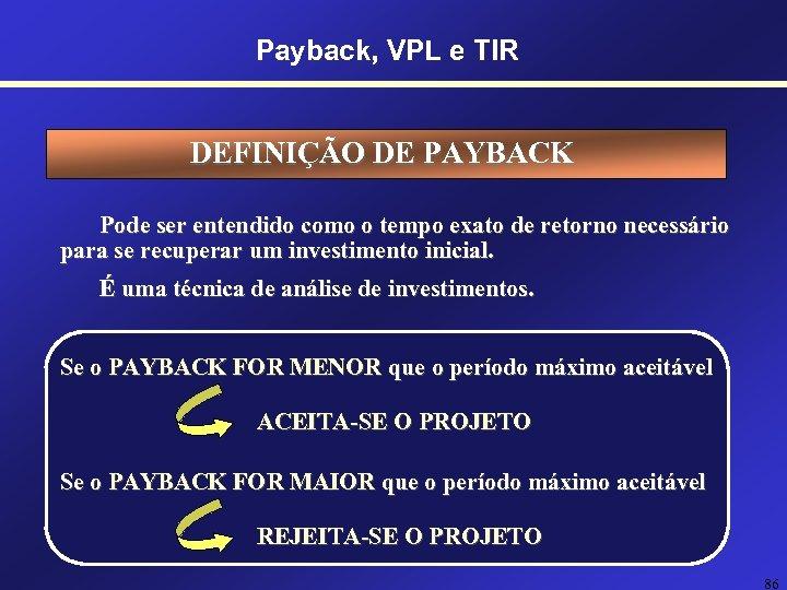Payback, VPL e TIR DEFINIÇÃO DE PAYBACK Pode ser entendido como o tempo exato