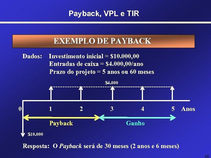 Payback, VPL e TIR EXEMPLO DE PAYBACK Dados: Investimento inicial = $10. 000, 00