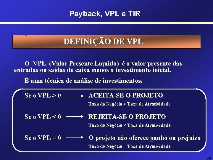 Payback, VPL e TIR DEFINIÇÃO DE VPL O VPL (Valor Presente Líquido) é o