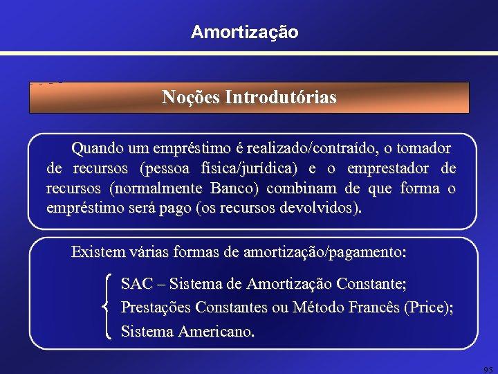 Amortização Noções Introdutórias Quando um empréstimo é realizado/contraído, o tomador de recursos (pessoa física/jurídica)