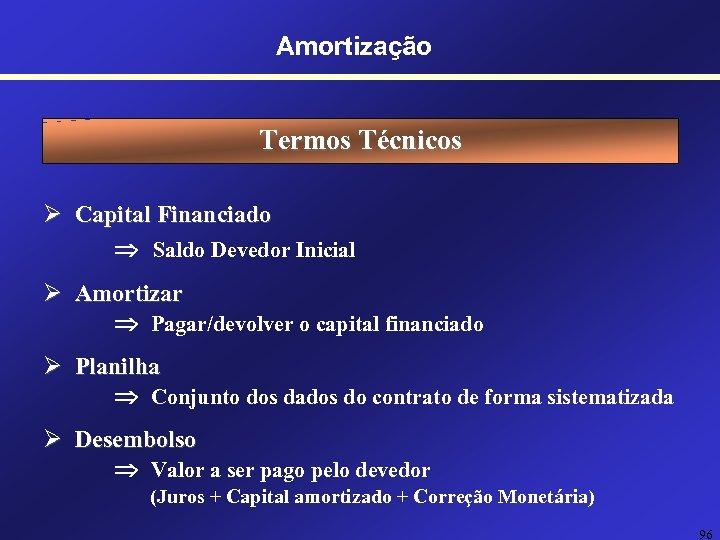 Amortização Termos Técnicos Ø Capital Financiado Saldo Devedor Inicial Ø Amortizar Pagar/devolver o capital