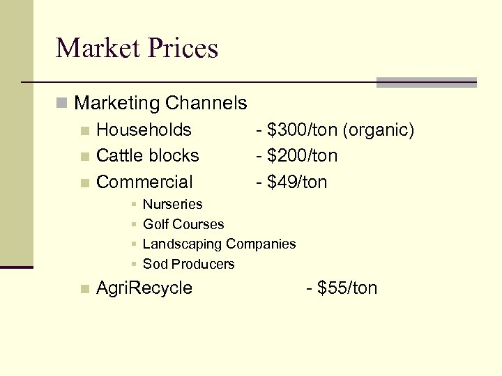 Market Prices n Marketing Channels n Households - $300/ton (organic) n Cattle blocks -
