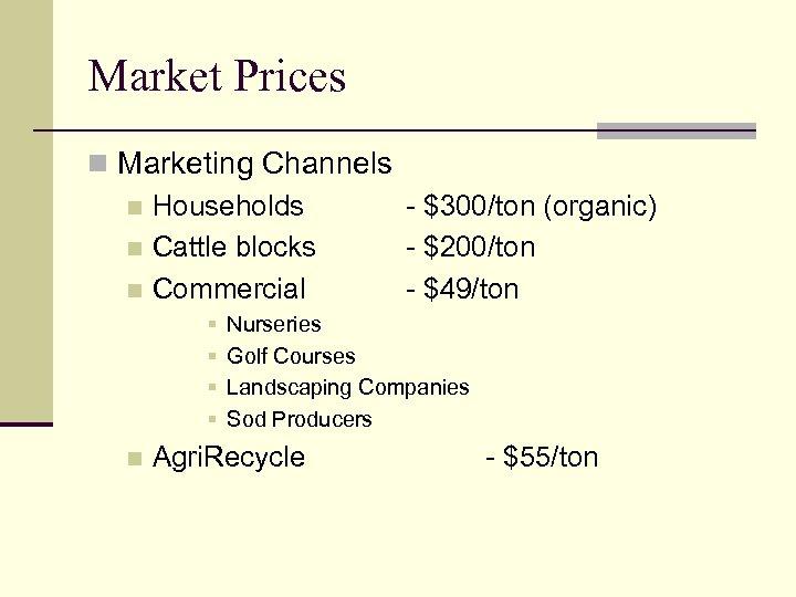 Market Prices n Marketing Channels n Households - $300/ton (organic) n Cattle blocks -
