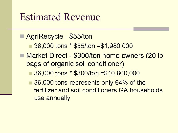 Estimated Revenue n Agri. Recycle - $55/ton n 36, 000 tons * $55/ton =$1,
