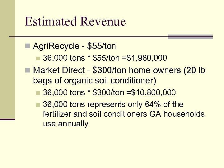 Estimated Revenue n Agri. Recycle - $55/ton n 36, 000 tons * $55/ton =$1,