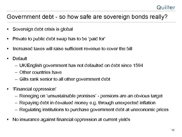 Government debt - so how safe are sovereign bonds really? • Sovereign debt crisis