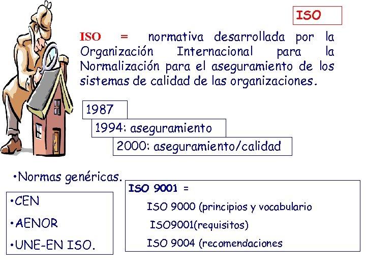 ISO = normativa desarrollada por la Organización Internacional para la Normalización para el aseguramiento