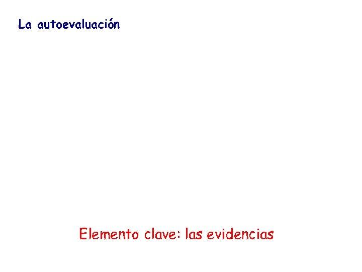 La autoevaluación Elemento clave: las evidencias