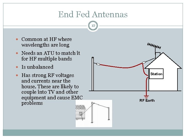 End Fed Antennas 12 Common at HF where wavelengths are long Needs an ATU