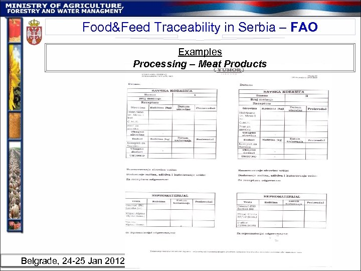 Food&Feed Traceability in Serbia – FAO Examples Processing – Meat Products Belgrade, 24 -25